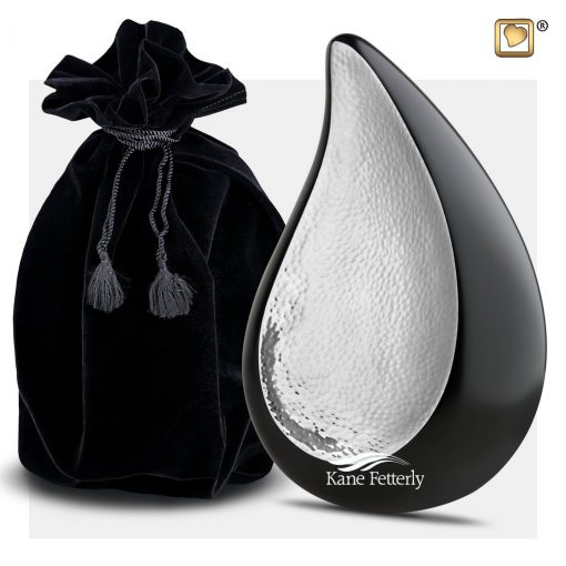 Black and silver tear drop urn