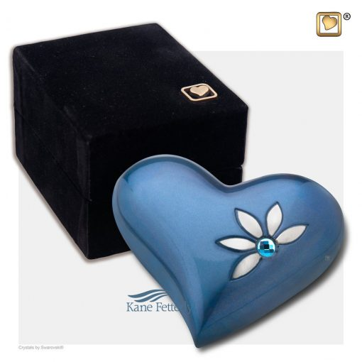 Blue heart miniature urn shown with box