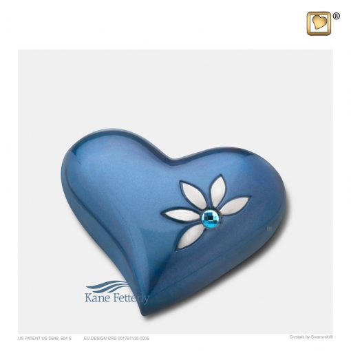 U8723H Blue heart miniature urn