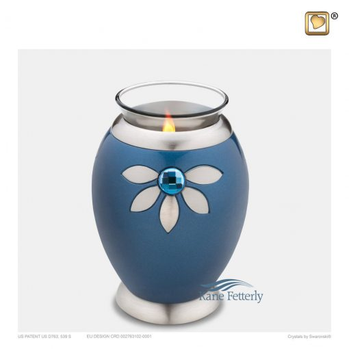 Blue tealight miniature urn with Swarovski crystal