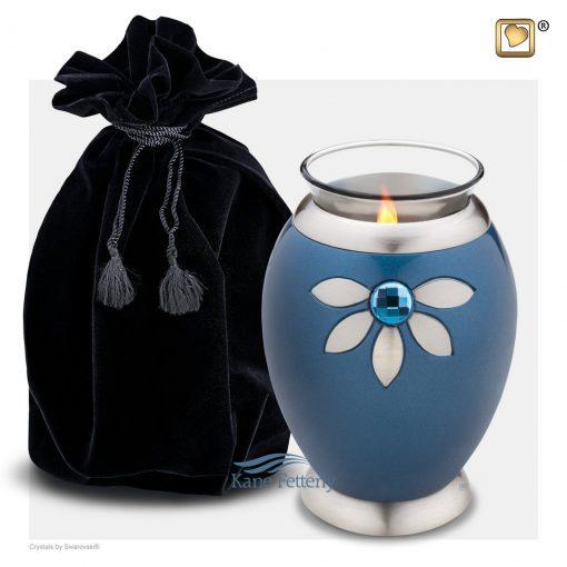 Tealight miniature urn shown with velvet bag