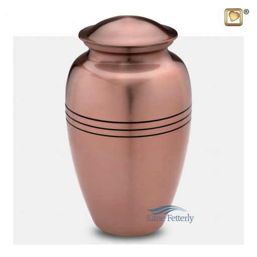 Brass urn, copper finish
