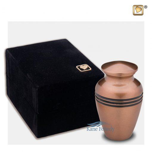 Brass miniature urn, copper finish