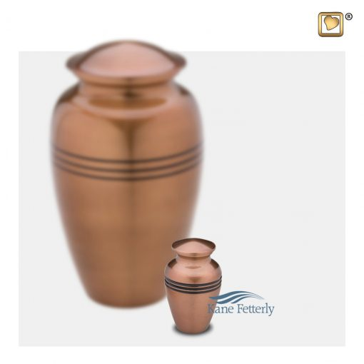 Brass miniature urn, copper finish