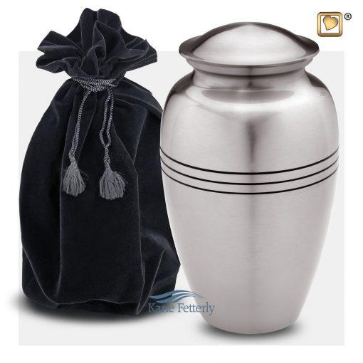 Silver brass urn (shown with velvet bag)
