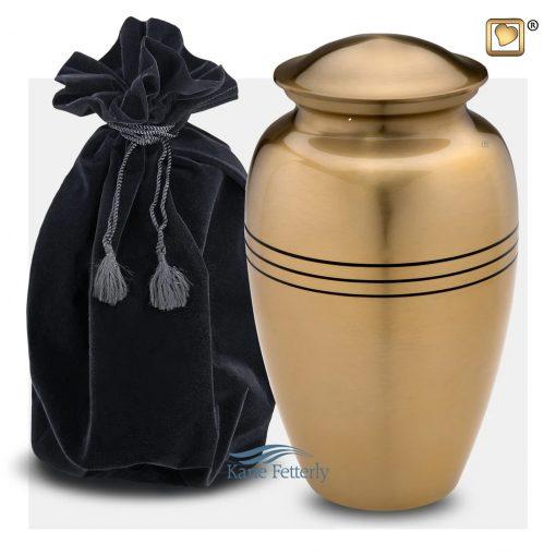 Gold brass urn (shown with velvet bag)