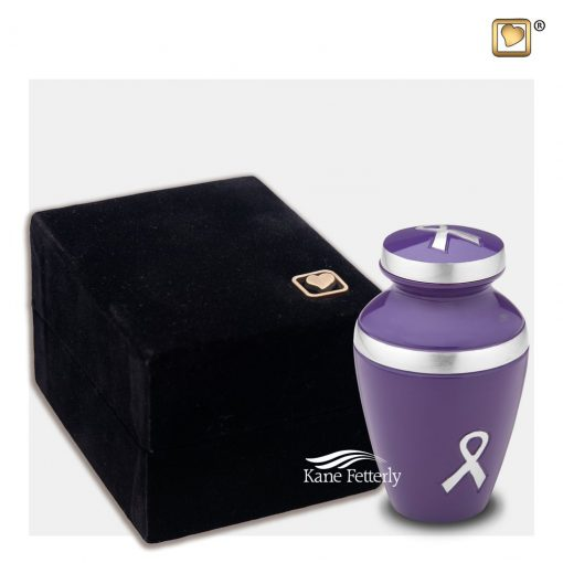 Violet miniature urn with ribbons