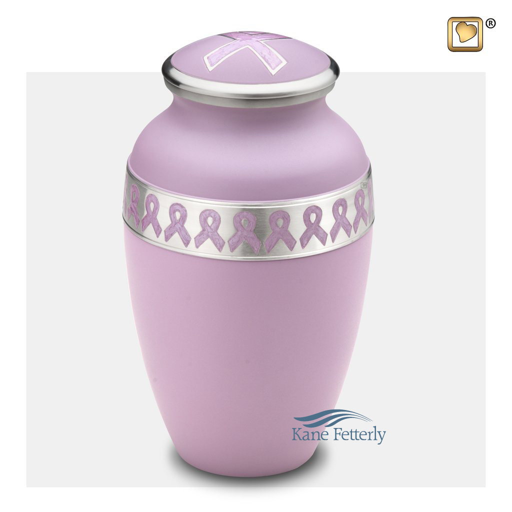 U8730 Violet brass urn with awareness ribbons