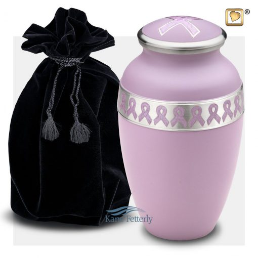 Violet brass urn with awareness ribbons