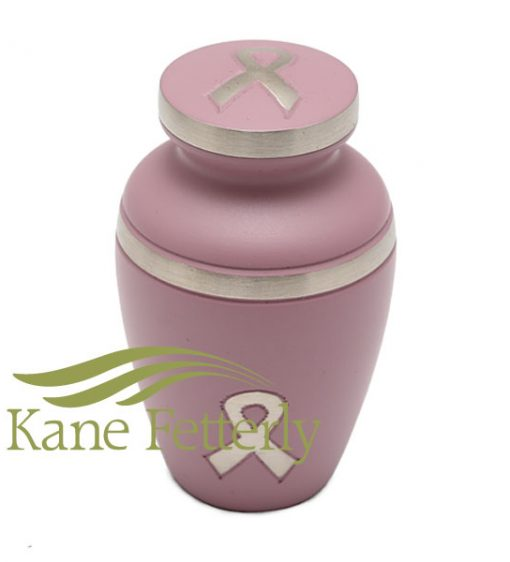 Violet brass miniature urn with awareness ribbon
