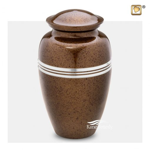 Brass urn with brown speckled finish