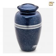 Brass urn with blue speckled finish