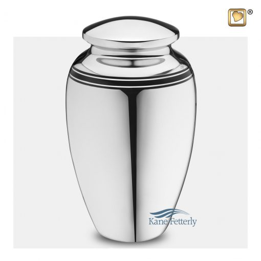 U8736 Brass urn with silver polished finish