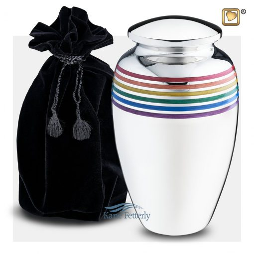 Brass urn with mirror finish and pride rainbow motif (shown with velvet bag)