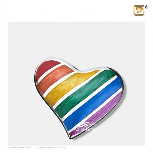 Heart keepsake urn with engraved and enamelled rainbow bands