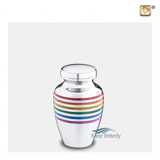 Brass miniature urn with silver polished finish and pride rainbow motif