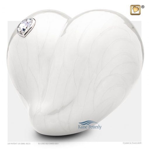 U8741 Pearl white heart urn