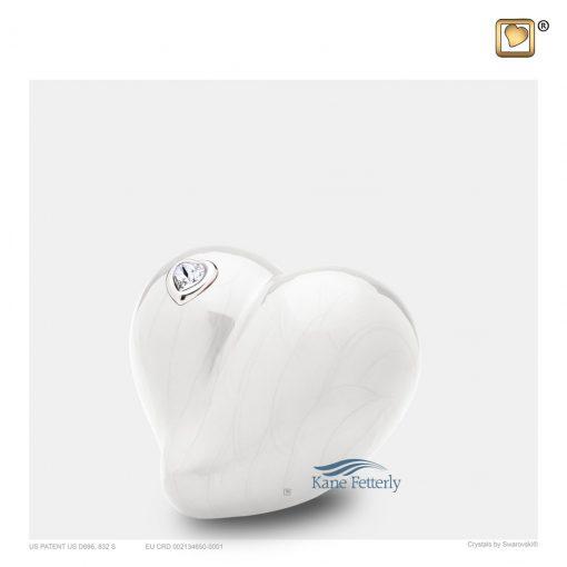 Pearl white heart miniature urn