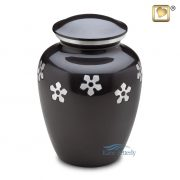 Aluminum urn with flowers