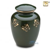Aluminum urn with butterflies