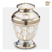 Brass urn with intricate silver and gold engraved floral motifs