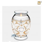 Brass tealight miniature urn with silver and gold engraved floral motifs
