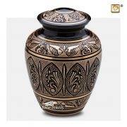 Black brass urn with engraved gold floral motifs and butterfly wings