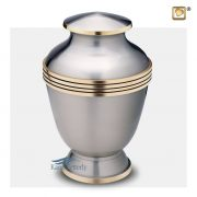 Silver brass urn with gold band around the diameter.