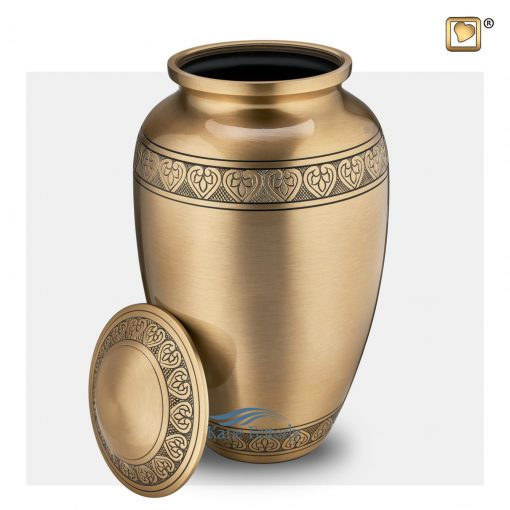Gold brass urn with hearts