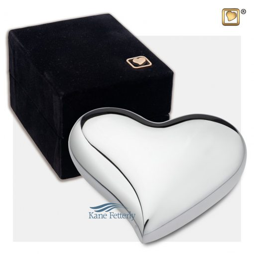 Heart miniature urn shown with box