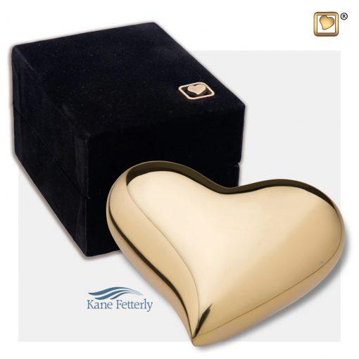 Urne miniature en coeur en laiton