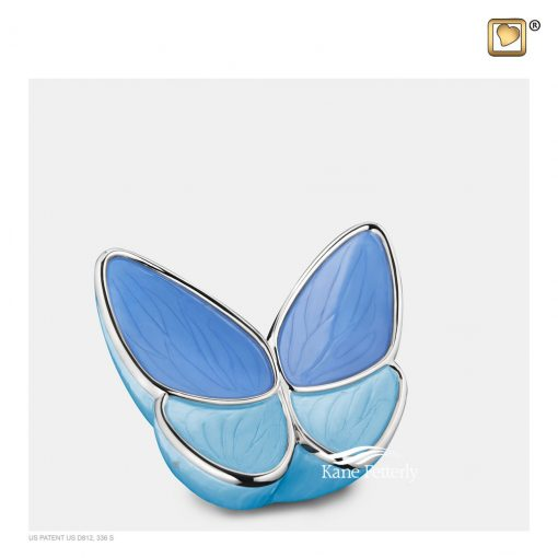 Blue butterfly miniature urn, two-tone blue pearlescent finish.