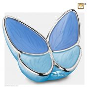 Two-tone blue butterfly urn