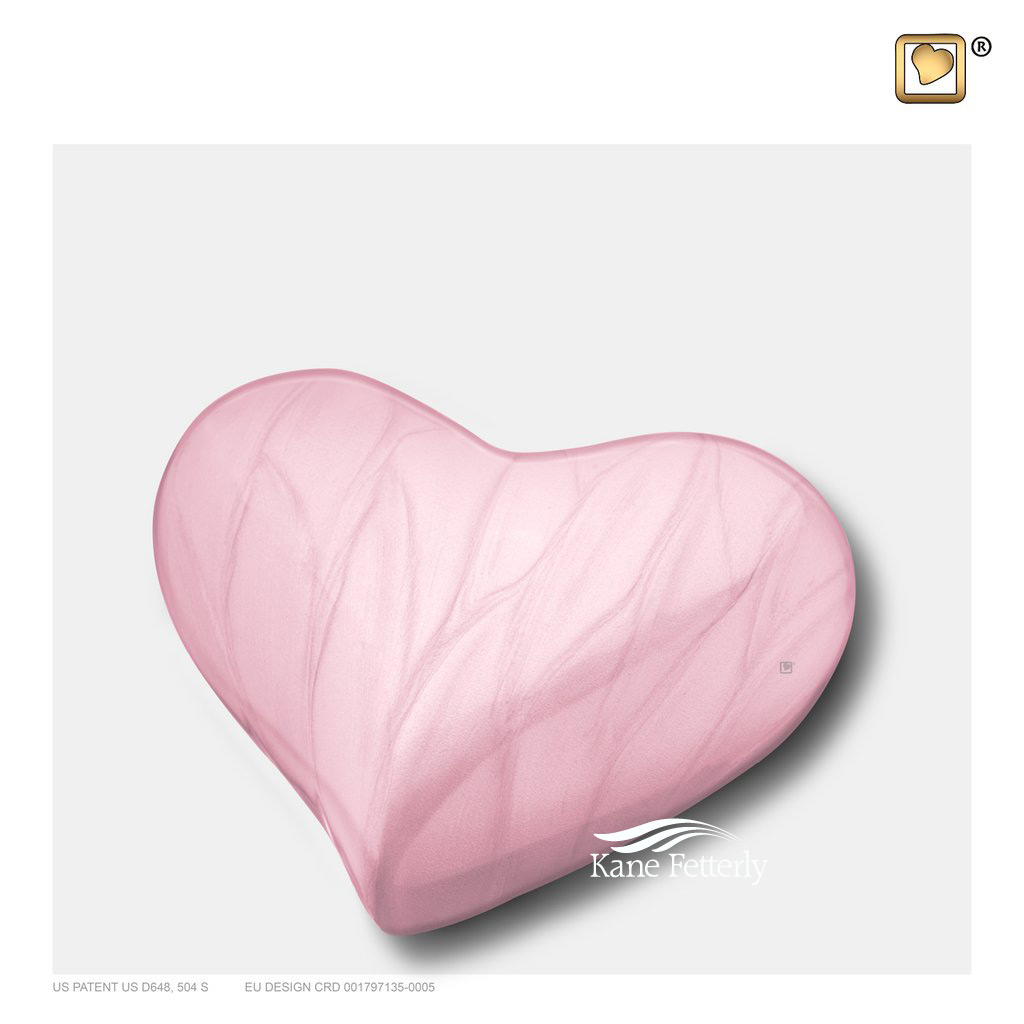 Pink heart miniature urn