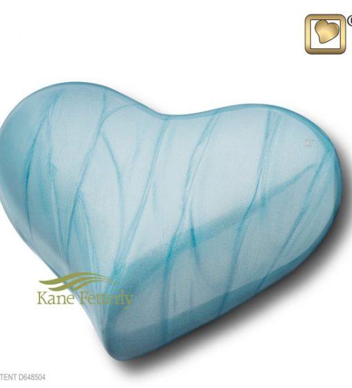 Blue heart miniature urn