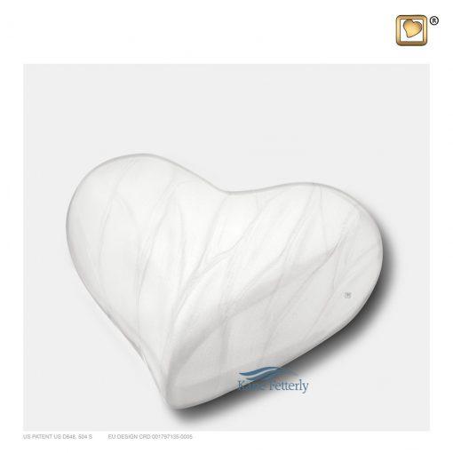 Urne miniature en forme de coeur en laiton blanc