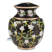 Floral black cloisonné urn